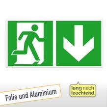Fluchtwegschild - Notausgang rechts mit Zusatzzeichen