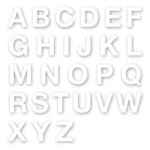 Stanzbuchstaben Großbuchstaben A-Z - Folie Weiss - Höhe 25-100 mm