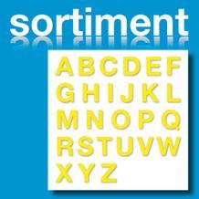 Sortiment Folien-Stanzbuchstaben Großbuchstaben - Gelb - Höhe 25-100 mm