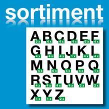 Sortiment Folien-Stanzbuchstaben Großbuchstaben - Schwarz - Höhe 25-100