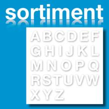 Sortiment Folien-Stanzbuchstaben Großbuchstaben - Weiss - Höhe 25-100 mm