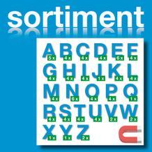 Sortiment Stanz-Großbuchstaben A-Z - magnetisch - Blau - Höhe 50-100 mm