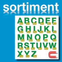 Sortiment Stanz-Großbuchstaben A-Z - magnetisch - Grün - Höhe 50-100 mm