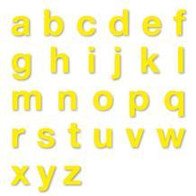 Stanzbuchstaben Kleinbuchstaben a-z - Folie Gelb - Höhe 25-100 mm