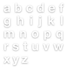 Stanzbuchstaben Kleinbuchstaben a-z - Folie Weiss - Höhe 25-100 mm