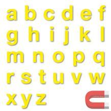 Stanzbuchstaben Kleinbuchstaben a-z - magnetisch - Gelb - Höhe 50-100 mm