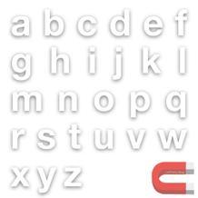 Stanzbuchstaben Kleinbuchstaben a-z - magnetisch - Weiss - Höhe 50-100 mm