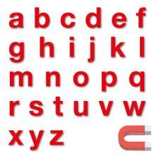 Stanzbuchstaben Kleinbuchstaben a-z - magnetisch - Rot - Höhe 50-100 mm