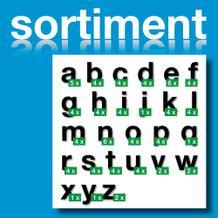 Sortiment Folien-Stanzbuchstaben Kleinbuchstaben - Schwarz - Höhe 25-100