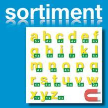 Sortiment Stanz-Kleinbuchstaben a-z - magnetisch - Gelb - Höhe 50-100 mm