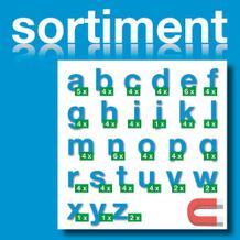 Sortiment Stanz-Kleinbuchstaben a-z - magnetisch - Blau - Höhe 50-100 mm