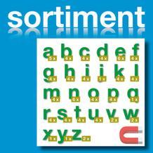 Sortiment Stanz-Kleinbuchstaben a-z - magnetisch - Grün - Höhe 50-100 mm