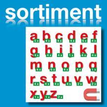 Sortiment Stanz-Kleinbuchstaben a-z - magnetisch - Rot - Höhe 50-100 mm
