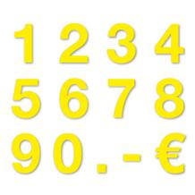 Sortiment Stanzziffern 0-9 - 100 Stück - Folie Gelb - Höhe 25-100 mm