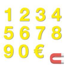Sortiment Stanzziffern 0-9 - 100 Stück - magnetisch - Gelb - Höhe 50-100 mm