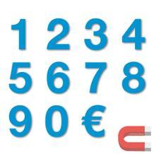 Sortiment Stanzziffern 0-9 - 100 Stück - magnetisch - Blau - Höhe 50-100 mm