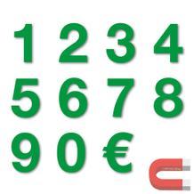Sortiment Stanzziffern 0-9 - 100 Stück - magnetisch - Grün - Höhe 50-100 mm
