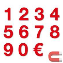 Sortiment Stanzziffern 0-9 - 100 Stück - magnetisch - Rot - Höhe 50-100 mm