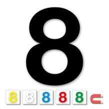 Einzelne Stanz-Ziffer - 8 - magnetisch - 6 Farben - Höhe 50-100 mm