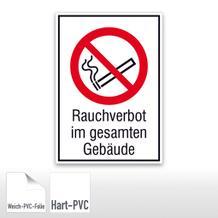 Verbots-Kombischild Rauchverbot im gesamten Gebäude