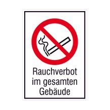 Verbots-Kombischild - Rauchverbot im gesamten Gebäude
