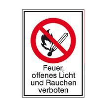 Verbots-Kombischild - Feuer, offenes Licht und Rauchen verboten