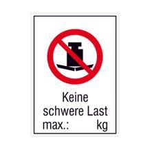 Verbots-Kombischild - Keine schwere Last,  max.:   kg