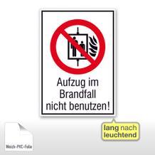 Verbots-Kombischild - Aufzug im Brandfall nicht benutzen, langnachleuchtend