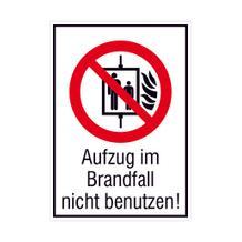 Verbots-Kombischild - Aufzug im Brandfall nicht benutzen