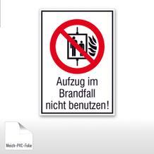 Verbots-Kombischild Aufzug im Brandfall nicht benutzen