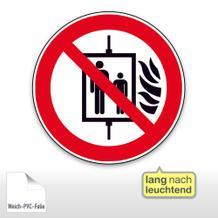 Verbotsschild - Aufzug im Brandfall nicht benutzen, langnachleuchtend