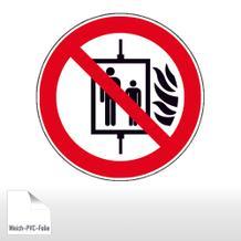 Verbotsschild - Aufzug im Brandfall nicht benutzen