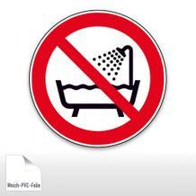 Verbotsschild - Verbot dieses Gerät in der Badewanne, Dusche ... zu benutzen