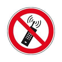 Verbotsschild - Eingeschaltete Mobiltelefone verboten