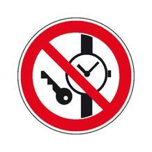 Verbotsschild - Keine Metallteile oder Uhren mitführen