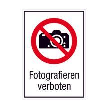 Verbots-Kombischild - Fotografieren verboten