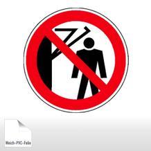 Verbotsschild - Hinter den Schwenkarm treten verboten
