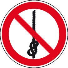 Verbotsschild - Knoten von Seilen verboten