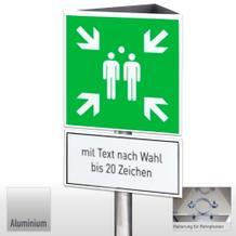 Fluchtwegschild-Dreieckskonstruktion, Sammelstelle + Text nach Wahl