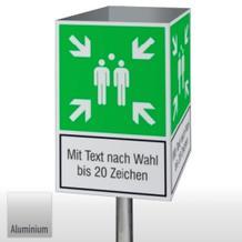 Fluchtwegschild Würfel - Sammelstelle, mit Text nach Wahl