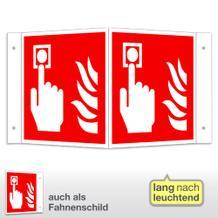 Brandmelder Winkel- und Fahnenschild, langnachleuchtend