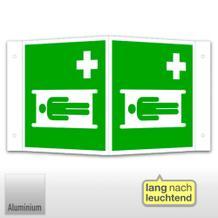 Erste-Hilfe-Schild - Winkel - langnachleuchtend Krankentrage