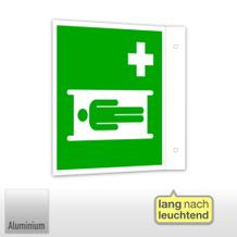 Erste-Hilfe-Schild - Fahne - langnachleuchtend Krankentrage