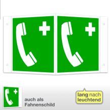 Erste-Hilfe-Schild - Winkel - langnachleuchtend Notruftelefon