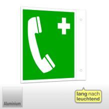 Erste-Hilfe-Schild - Fahne - langnachleuchtend Notruftelefon