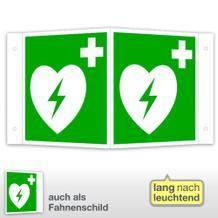 Erste-Hilfe-Schild - Winkel - langnachleuchtend Automatisierter externer Defibrillator (AED)
