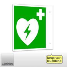 Erste-Hilfe-Schild - Fahne - langnachleuchtend Automatisierter externer Defibrillator (AED)