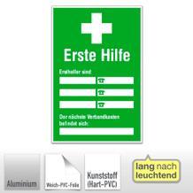 Aushang - Erste Hilfe - Ersthelfer-Verzeichnis