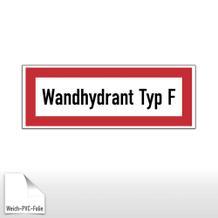 Hinweisschild für die Feuerwehr Wandhydrant Typ F