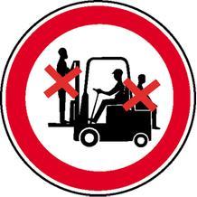 Verbotsschild - Mitfahren auf Gabelstapler verboten